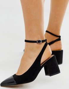 Wide Fit Squire pointed mid-heels in black