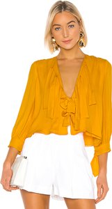 Tennessee Tie Front Top in Yellow. - size M (also in XS,S)