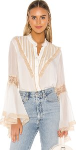 Bell Sleeve Blouse in White. - size S (also in L,M,XS)