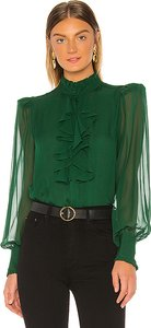 Ruffle Front Top in Green. - size XS (also in L,M,S)