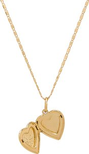 The Heart Locket Necklace in Metallic Gold.