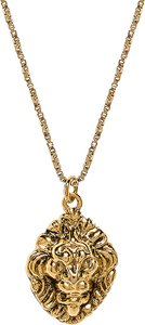The Royals Lion Pendant Necklace in Metallic Gold.