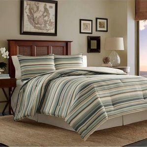 Stripe Canvas Comforter, Sham & Bed Skirt Set, Size California King - Green