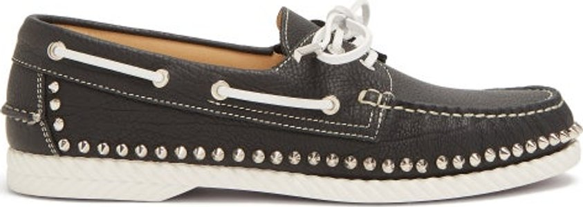 Steckel Stud Embellished Leather Deck Shoes - Mens - Black