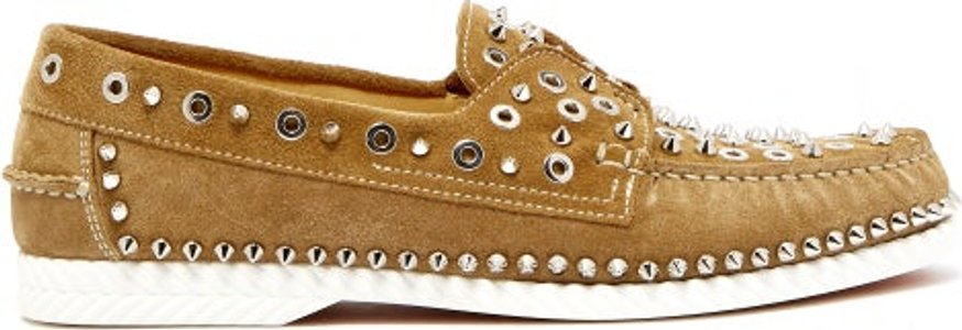 Embellished Suede Deck Shoes - Mens - Beige