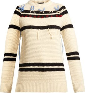Loose Thread Striped Wool Sweater - Womens - Cream