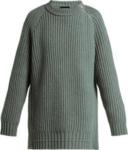 Side Zip Oversized Lambswool Sweater - Womens - Grey