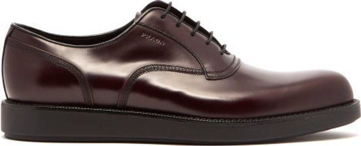 Raised Sole Leather Oxford Shoes - Mens - Burgundy