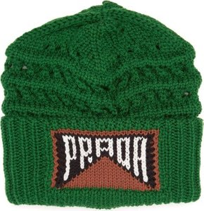 Logo Knitted Wool Beanie Hat - Womens - Green