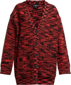 Oversized Space Dye Wool Cardigan - Womens - Black Red