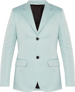 Slim Fit Satin Blazer - Mens - Light Blue