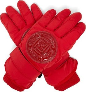 Logo Patch Padded Ski Gloves - Womens - Red