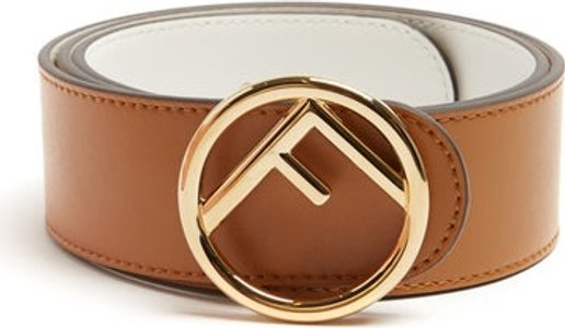 F Logo Leather Belt - Womens - Tan