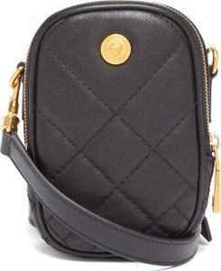 Medusa Quilted Leather Cross Body Bag - Mens - Black