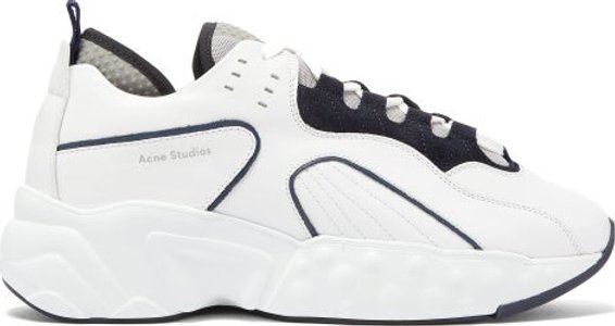Rockaway Leather Trainers - Mens - White Black