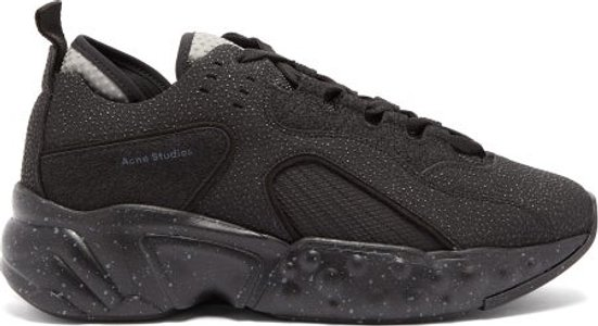 Rockaway Safety Mesh And Leather Trainers - Mens - Black