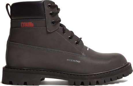 Worker Logo Print Leather Boots - Mens - Grey