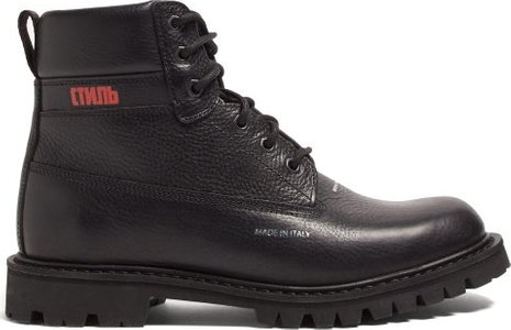 Worker Logo Print Grained Leather Boots - Mens - Black