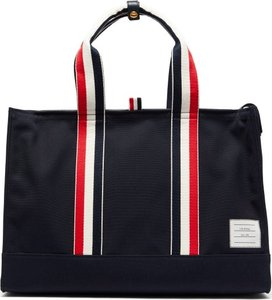 Tricolour Striped Leather & Canvas Tote Bag - Mens - Navy
