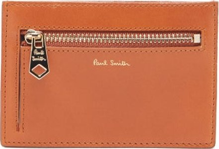 Smooth Leather Card Holder - Mens - Tan