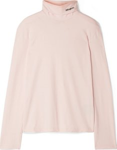 Embroidered Cotton-jersey Turtleneck Top - Pastel pink