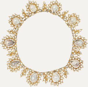 18-karat Yellow And White Gold, Pearl And Diamond Necklace