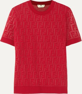 Intarsia-knit Cotton-blend Sweater - Red