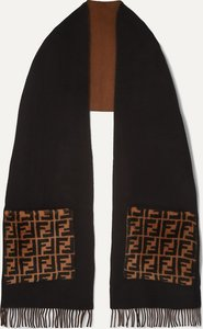 Printed Shearling-trimmed Fringed Wool And Cashmere-blend Scarf - Black