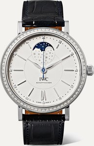 Portofino Automatic Moon Phase 37mm Stainless Steel, Alligator And Diamond Watch - Silver