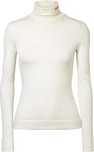 Embroidered Cotton-jersey Turtleneck Top - White