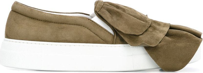 layered slip-on sneakers - Green