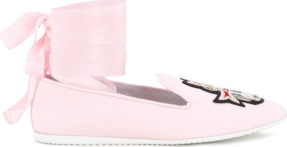 crest detail laced slippers - Pink