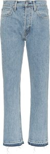 blue mid rise straight leg jeans