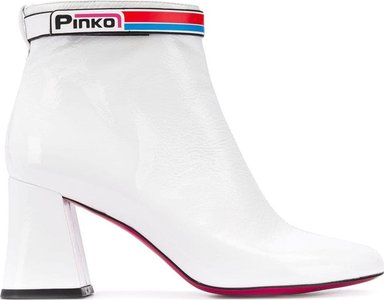 logo strap ankle boots - White