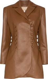 double-breasted longline jacket - Brown