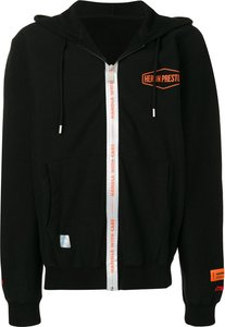 'Handle with Care' zipped hoodie - Black