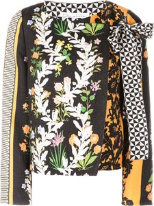 floral print fitted jacket - Yellow