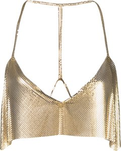 cropped chainmail top - Gold