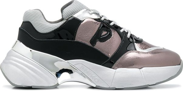 colour blocked chunky low top sneakers - Grey
