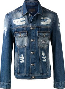 distressed denim jacket - Blue