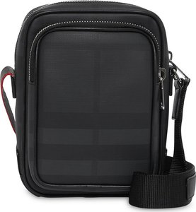 London Check and Leather Crossbody Bag - Black