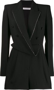 draped blazer playsuit - Black