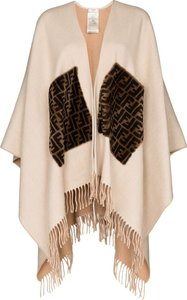fringed logo cashmere and wool poncho - Neutrals