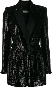 sequinned romper - Black