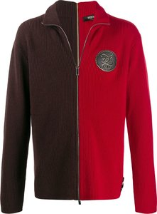 two-tone zipped cardigan - Red