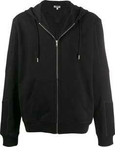 embroidered logo zip-up hooded jacket - Black