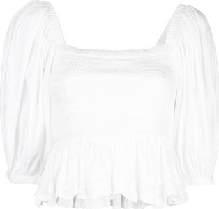 lily smocked top - White