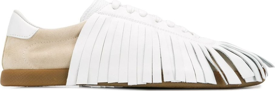 fringed lace-up sneakers - White