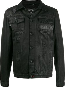 beaded skull denim jacket - Black