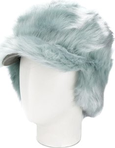 textured furry hat - Green